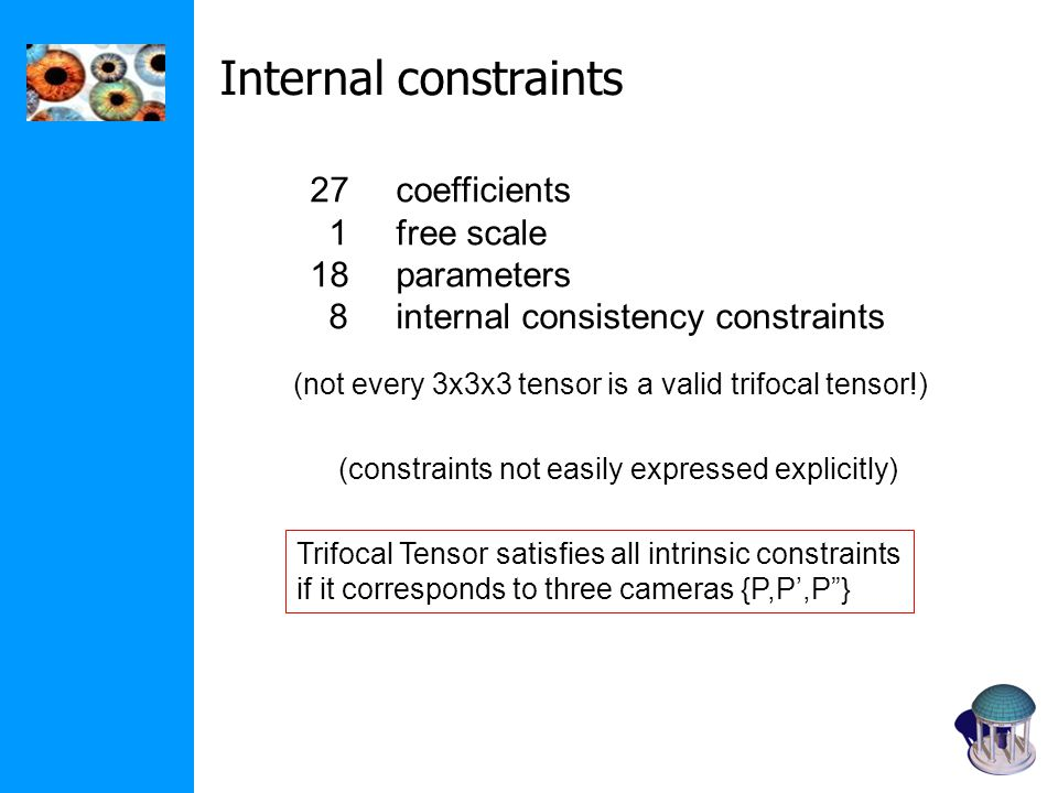 Internal constraints 27 coefficients 1 free scale 18 parameters