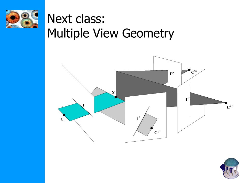 Next class: Multiple View Geometry