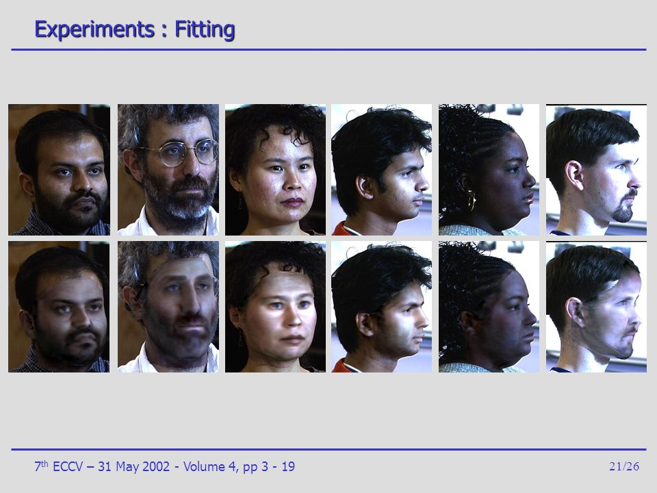 Experiments : Fitting 7th ECCV – 31 May 2002 - Volume 4, pp 3 - 19