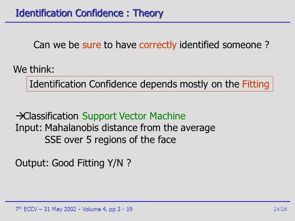 Identification Confidence : Theory