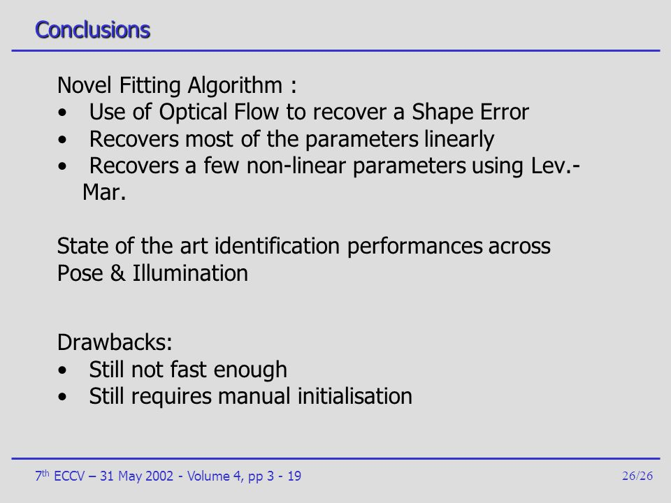 Novel Fitting Algorithm : Use of Optical Flow to recover a Shape Error