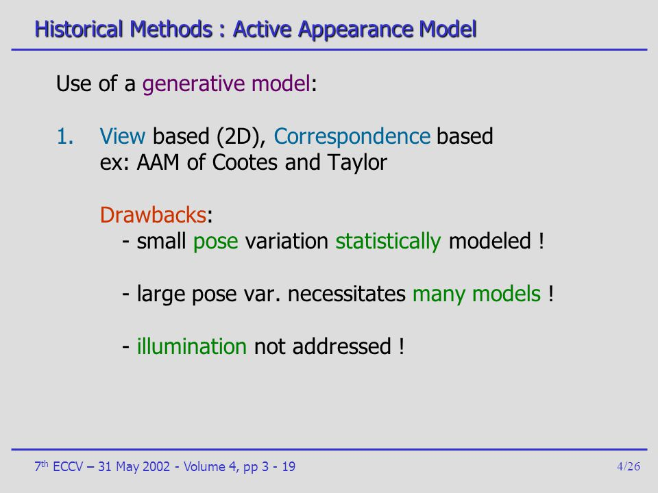 Historical Methods : Active Appearance Model