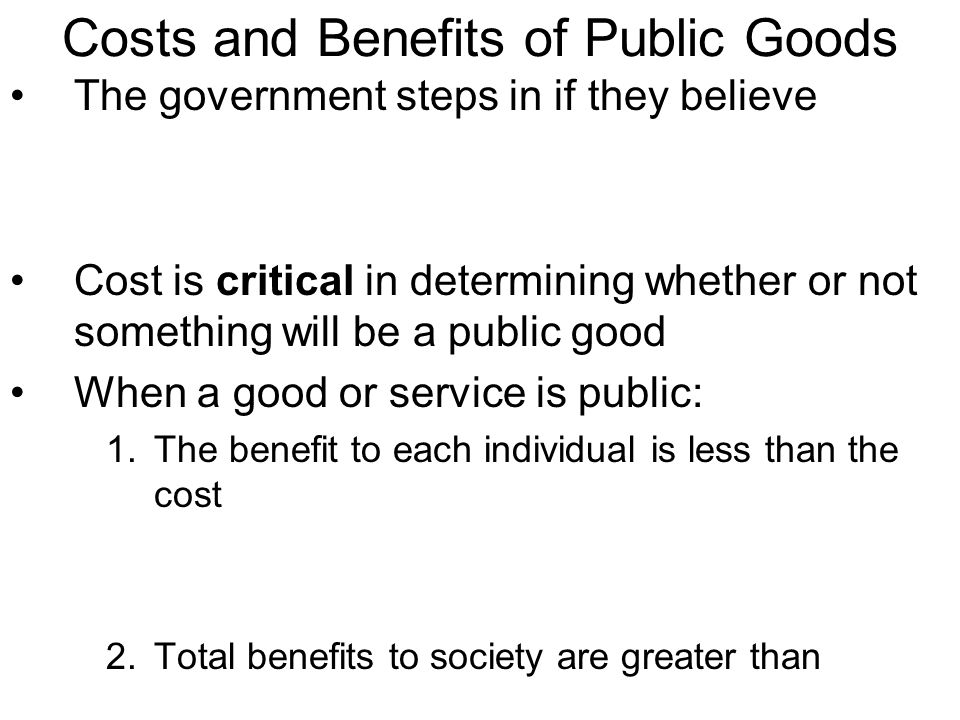 Costs and Benefits of Public Goods