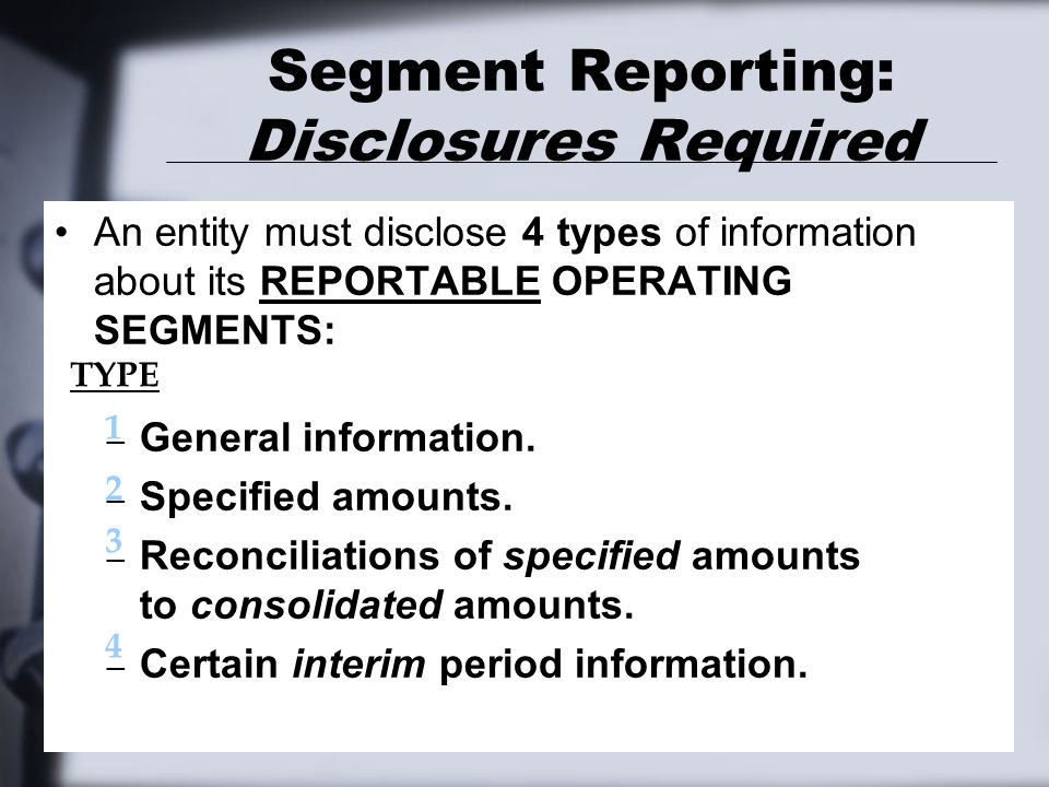 Segment Reporting: Disclosures Required