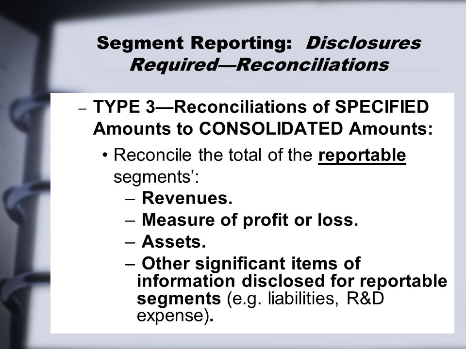 Segment Reporting: Disclosures Required—Reconciliations