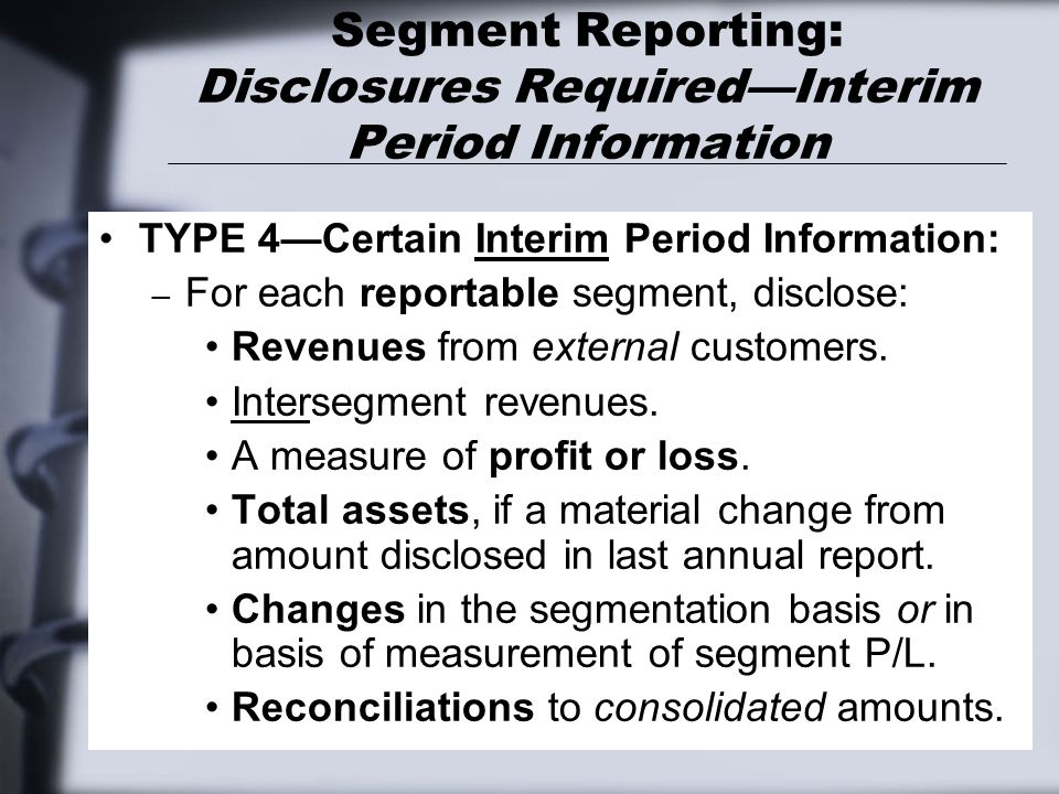 Segment Reporting: Disclosures Required—Interim Period Information