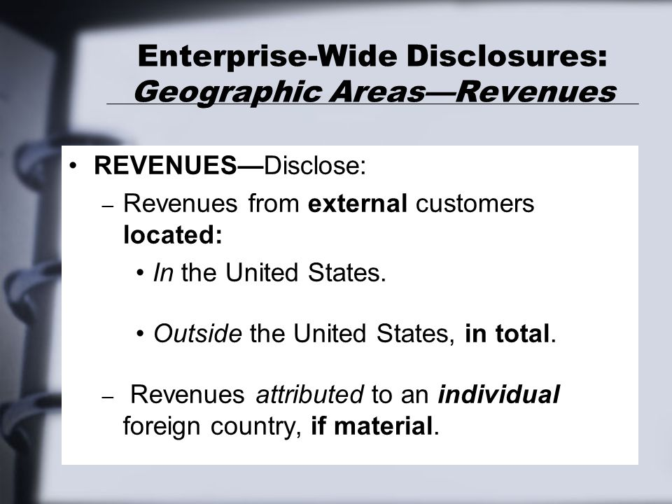 Enterprise-Wide Disclosures: Geographic Areas—Revenues