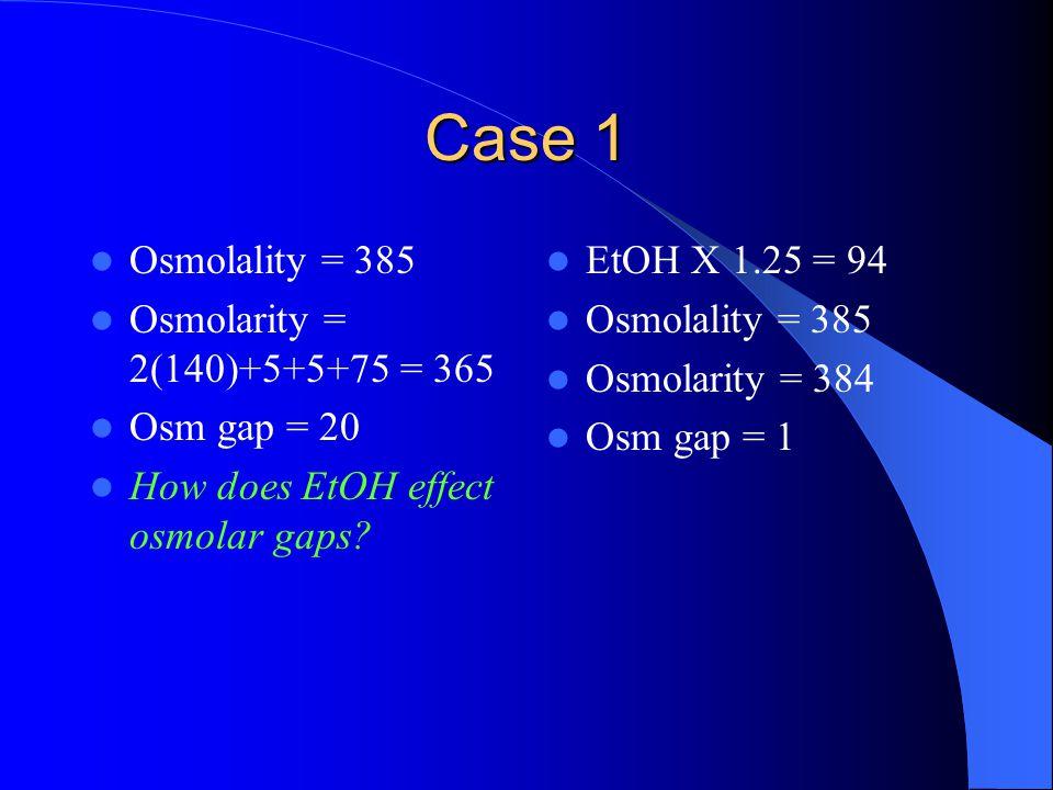Case 1 Osmolality = 385 Osmolarity = 2(140)+5+5+75 = 365 Osm gap = 20