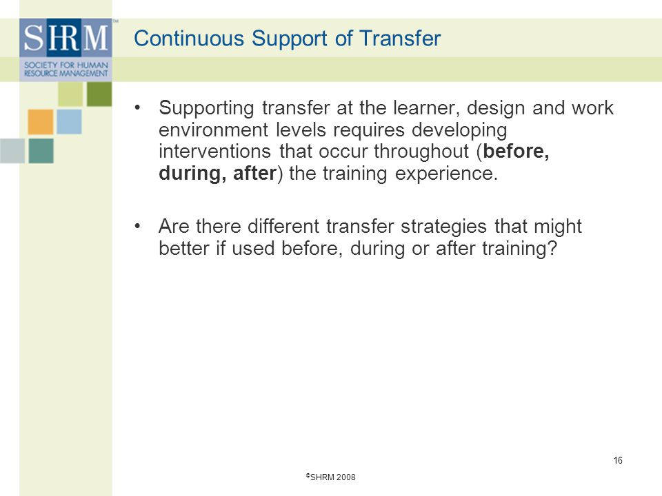 Continuous Support of Transfer