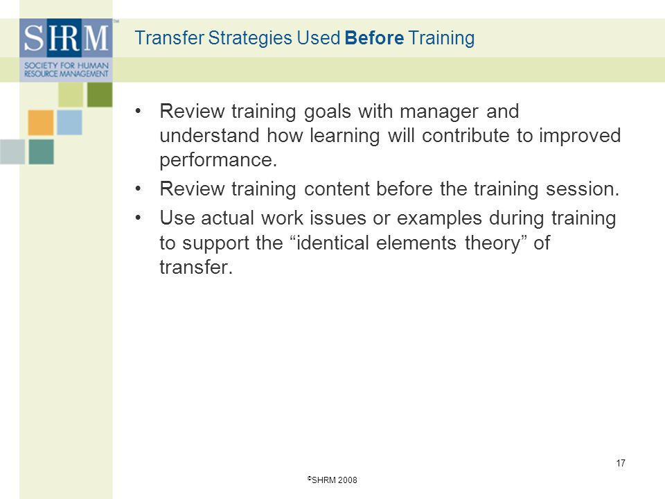 Transfer Strategies Used Before Training