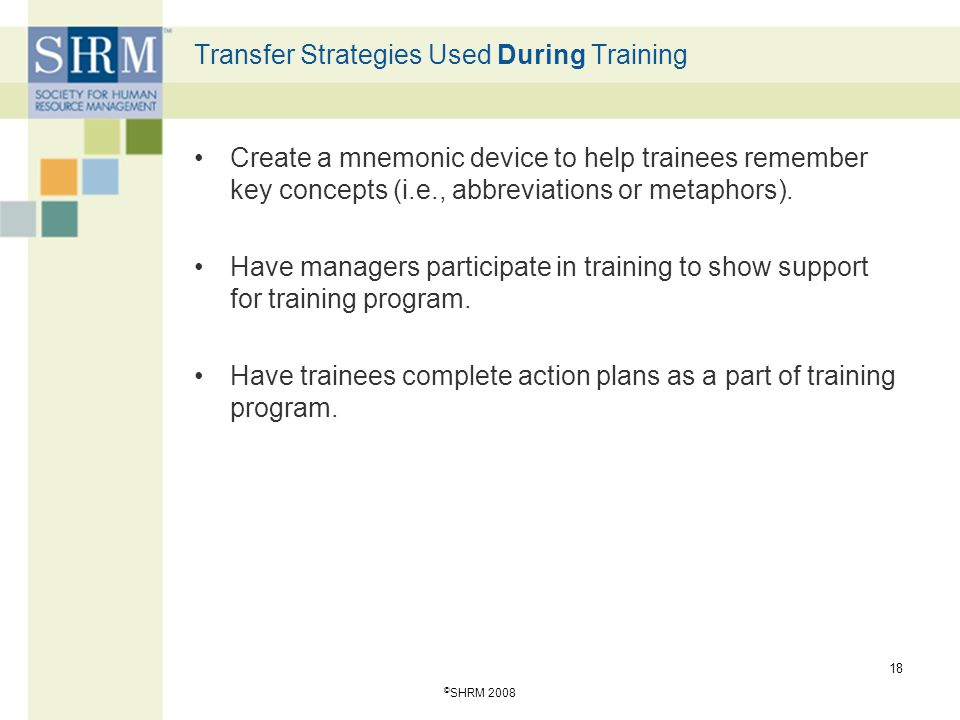 Transfer Strategies Used During Training