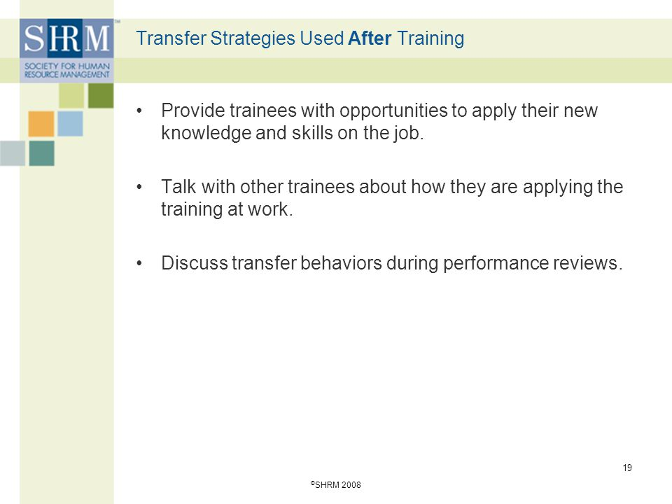 Transfer Strategies Used After Training