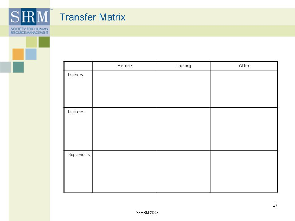 Transfer Matrix This is the matrix developed by Broad.