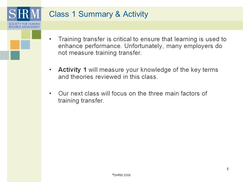 Class 1 Summary & Activity