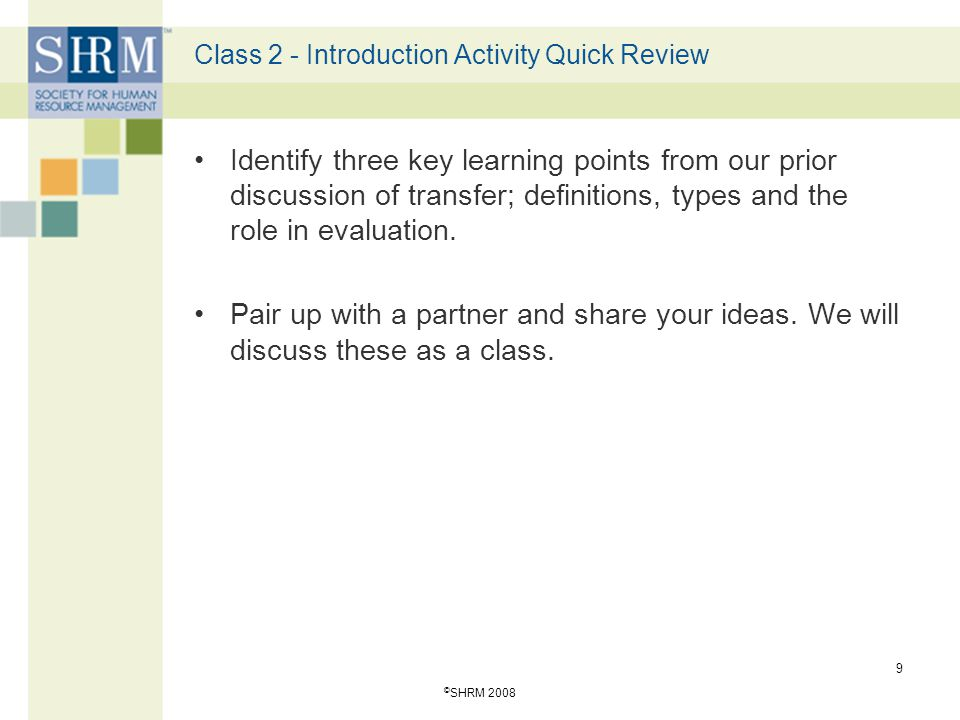 Class 2 - Introduction Activity Quick Review