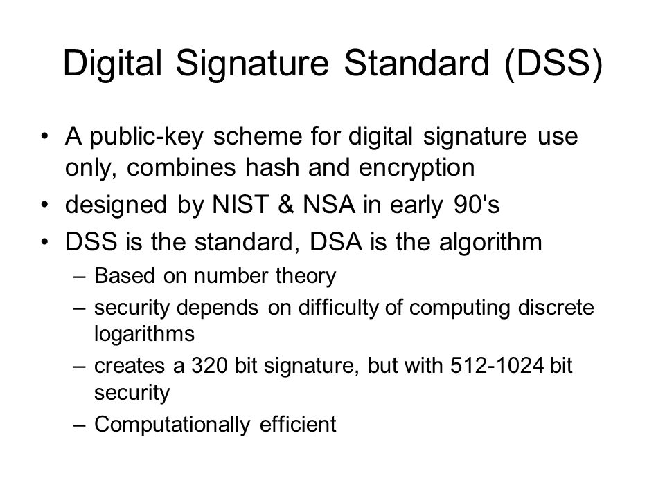 Digital Signature Standard (DSS)