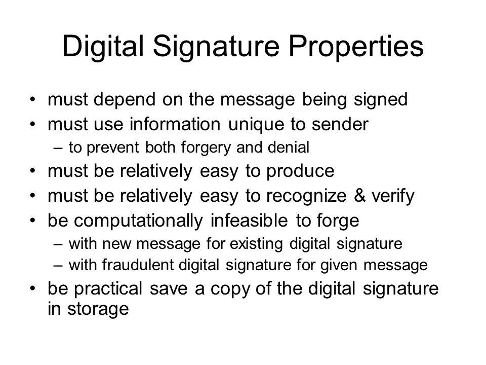 Digital Signature Properties