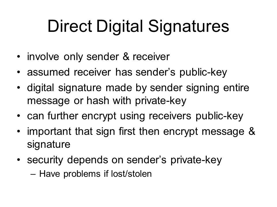 Direct Digital Signatures