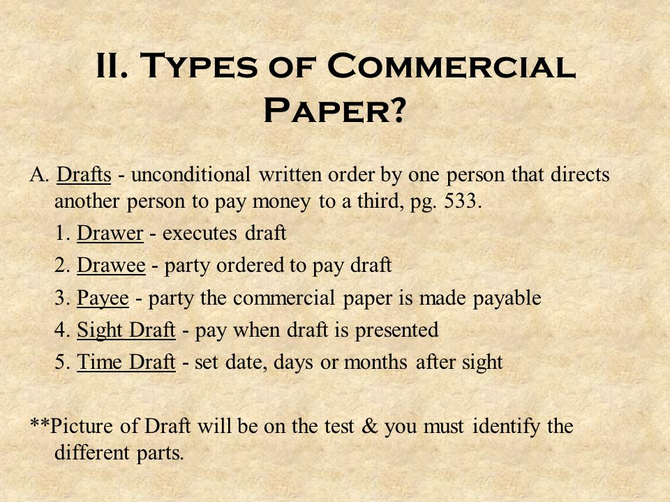 chapter commercial paper ppt  types of commercial paper