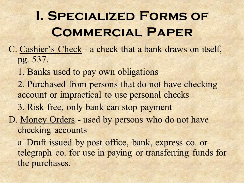 I. Specialized Forms of Commercial Paper