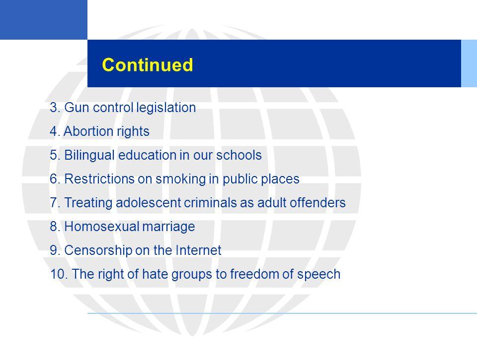 Continued 3. Gun control legislation 4. Abortion rights