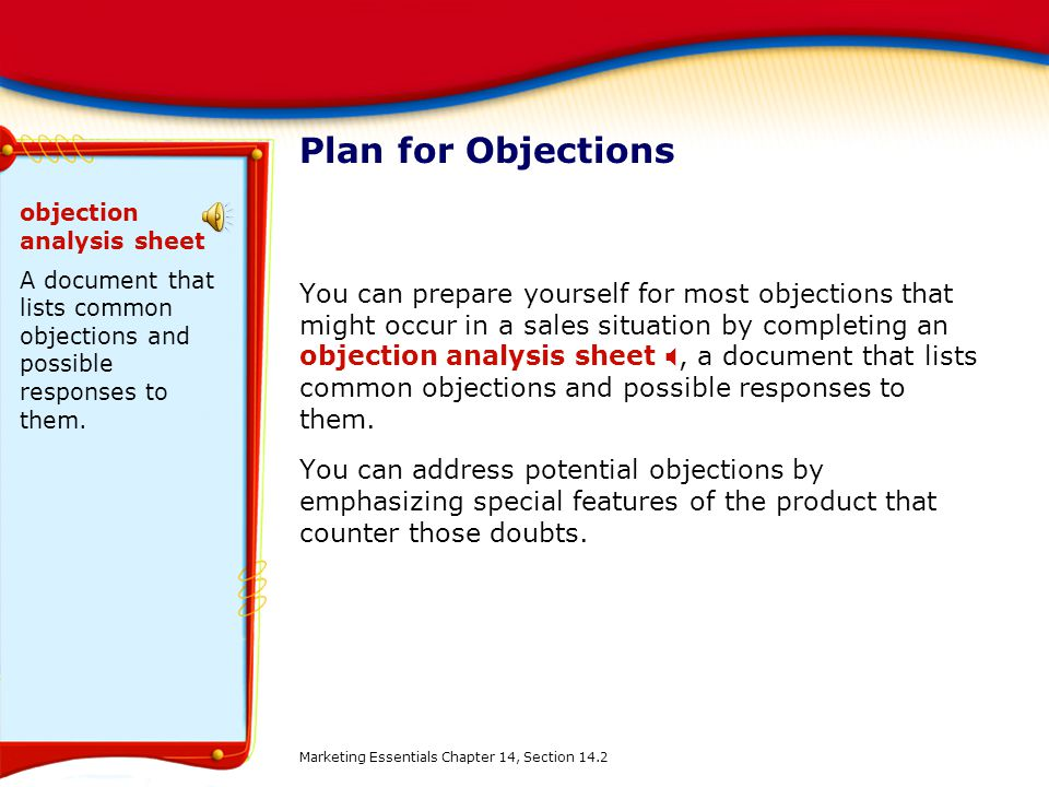 Plan for Objections objection analysis sheet. A document that lists common objections and possible responses to them.