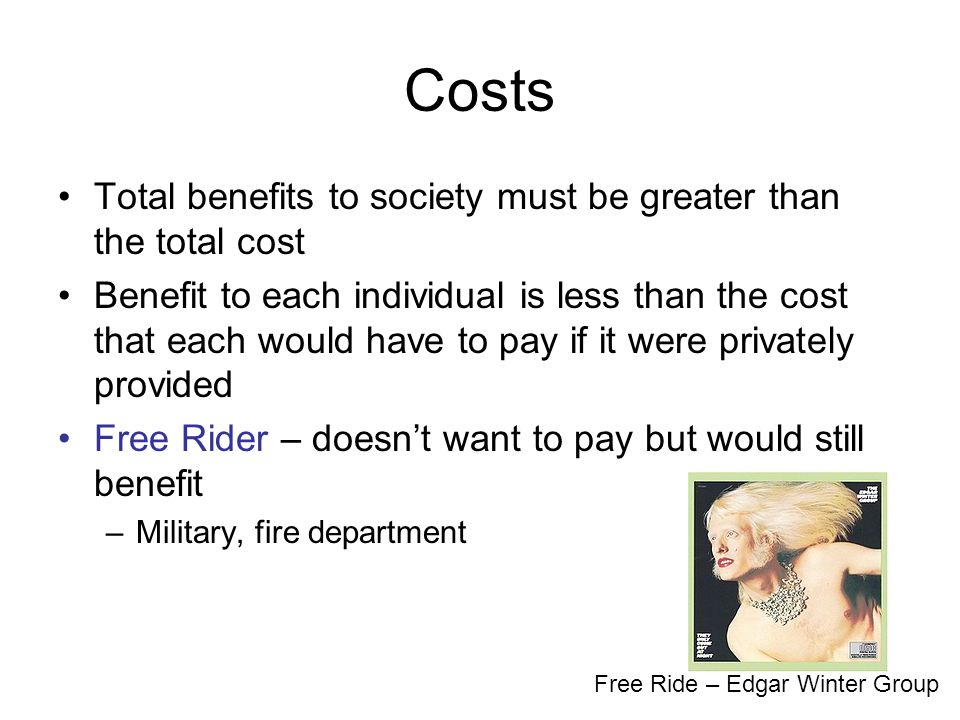 Costs Total benefits to society must be greater than the total cost