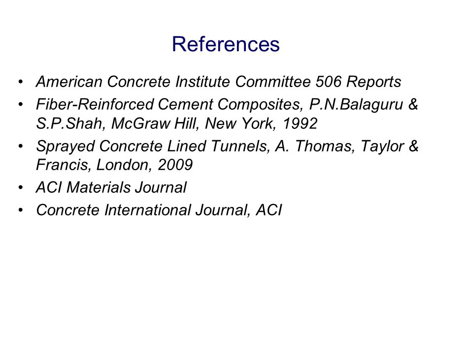 References American Concrete Institute Committee 506 Reports