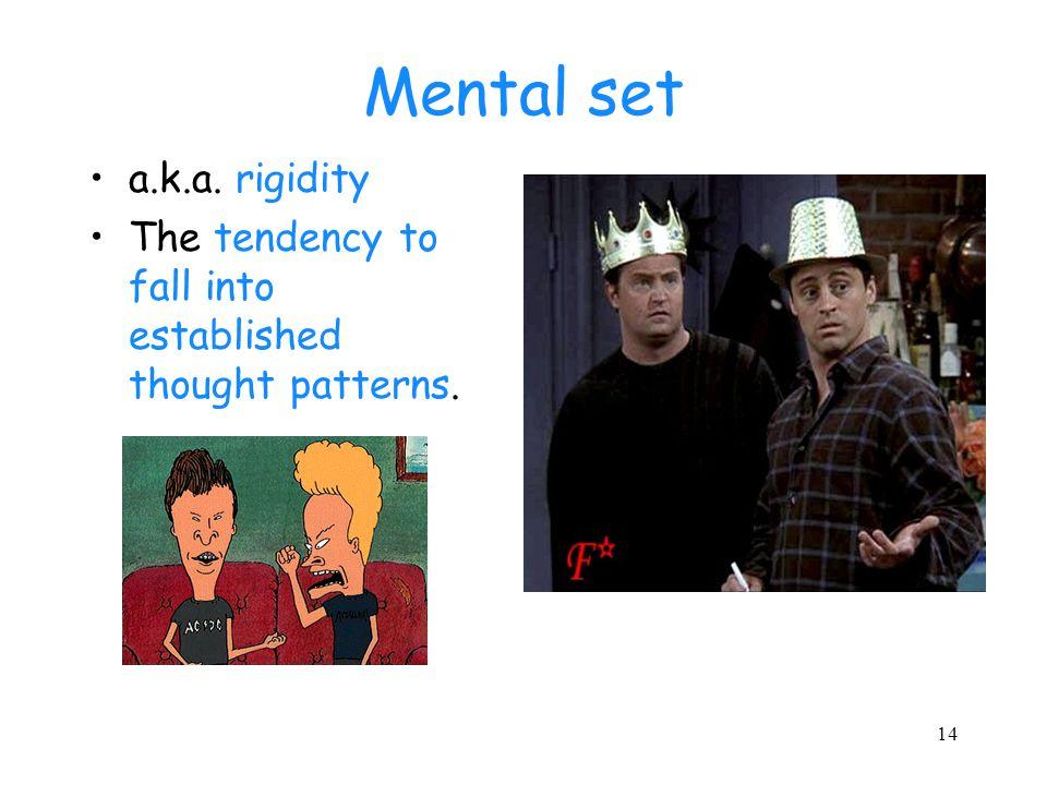 Mental set a.k.a. rigidity