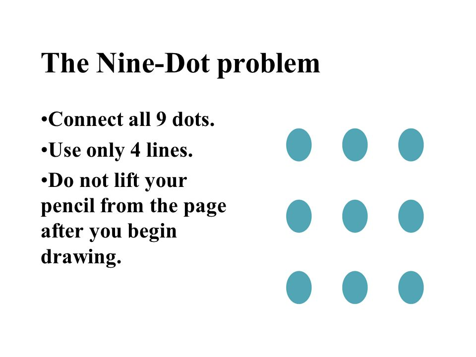 The Nine-Dot problem Connect all 9 dots. Use only 4 lines.