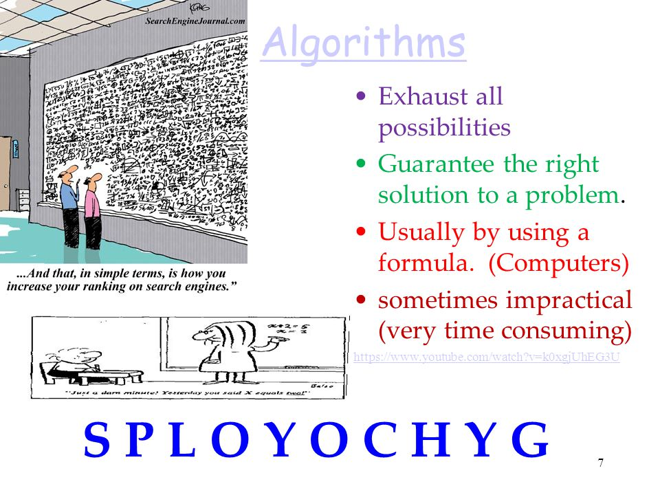 S P L O Y O C H Y G Algorithms Exhaust all possibilities