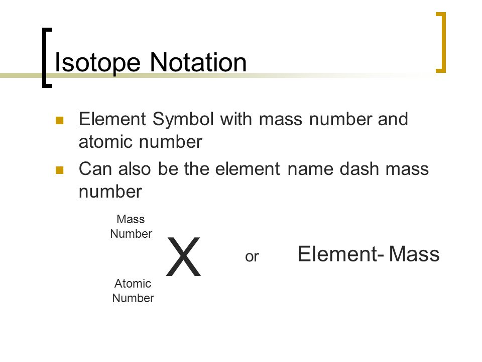 X Isotope Notation Element- Mass