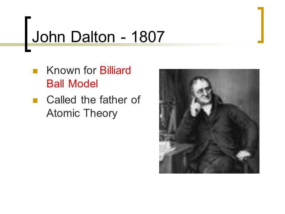 John Dalton - 1807 Known for Billiard Ball Model