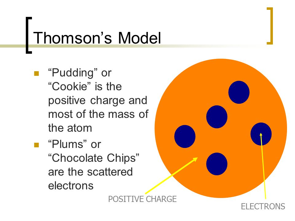 Thomson's Model Pudding or Cookie is the positive charge and most of the mass of the atom.