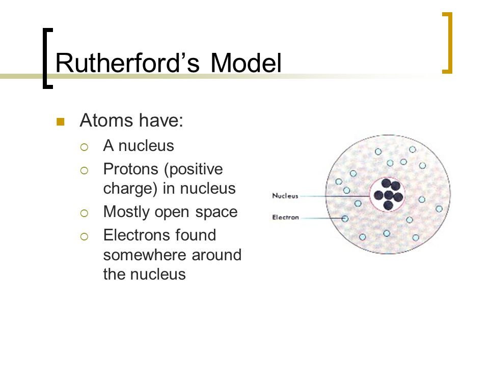 Rutherford's Model Atoms have: A nucleus