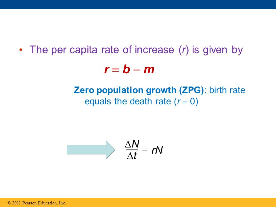 r  b  m The per capita rate of increase (r) is given by N  rN t
