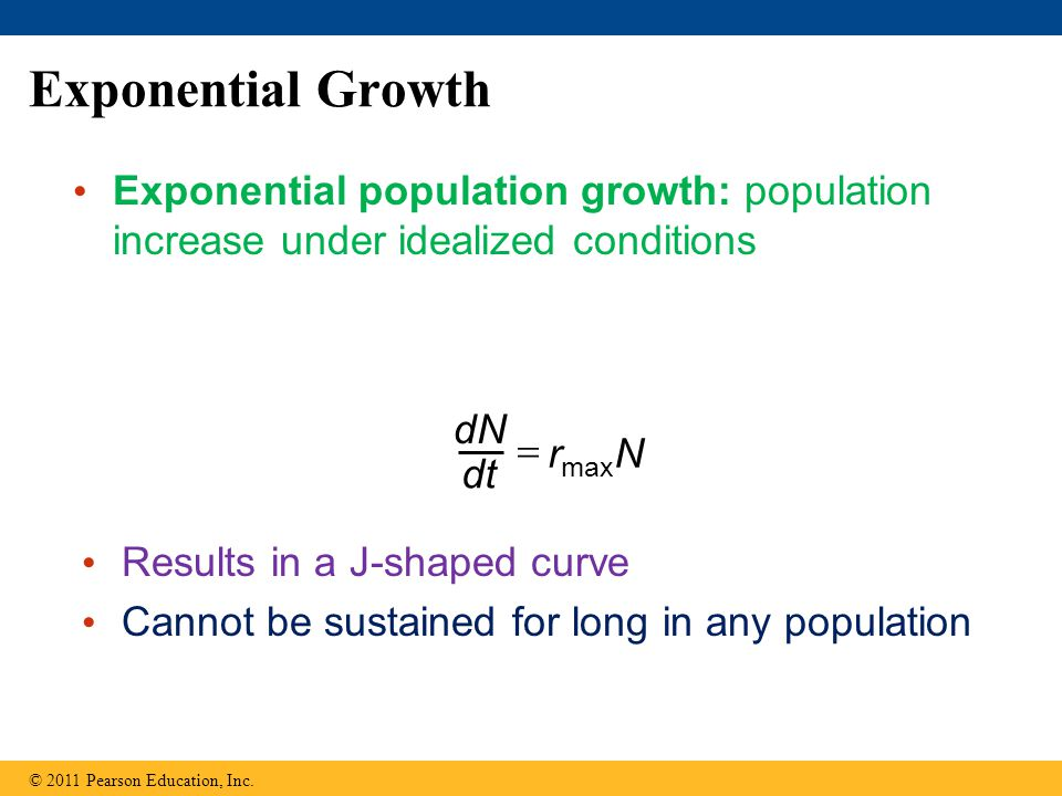 Exponential Growth Exponential population growth: population increase under idealized conditions. dN.