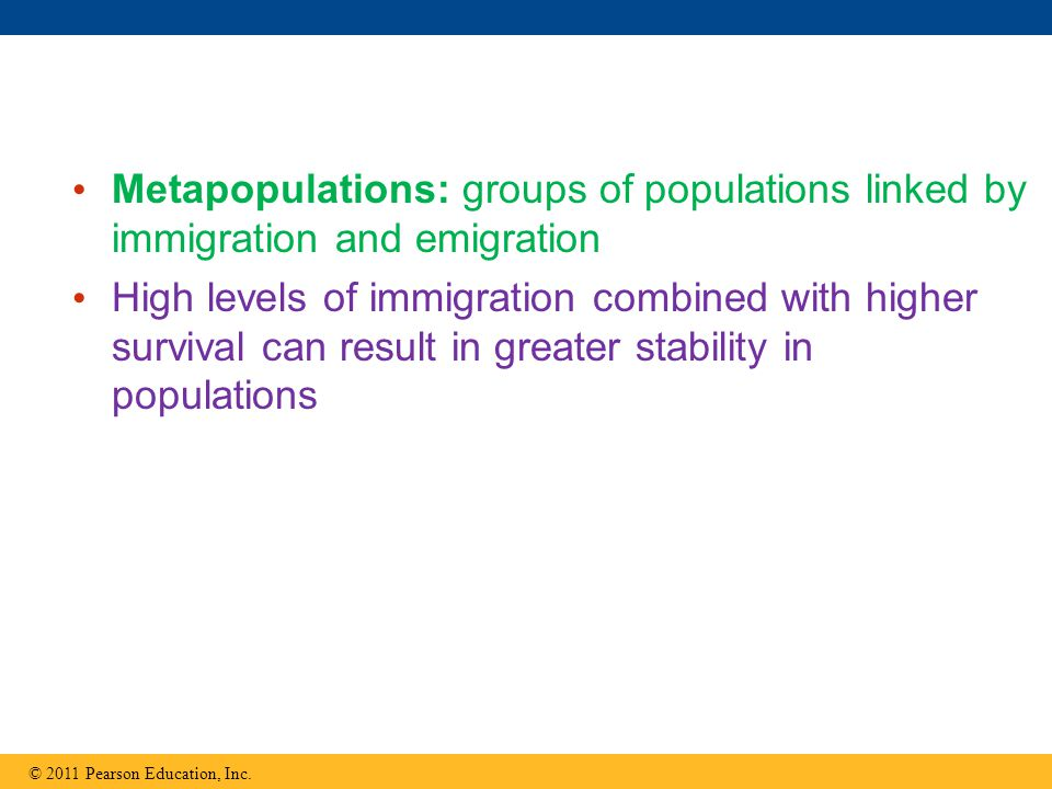 Metapopulations: groups of populations linked by immigration and emigration