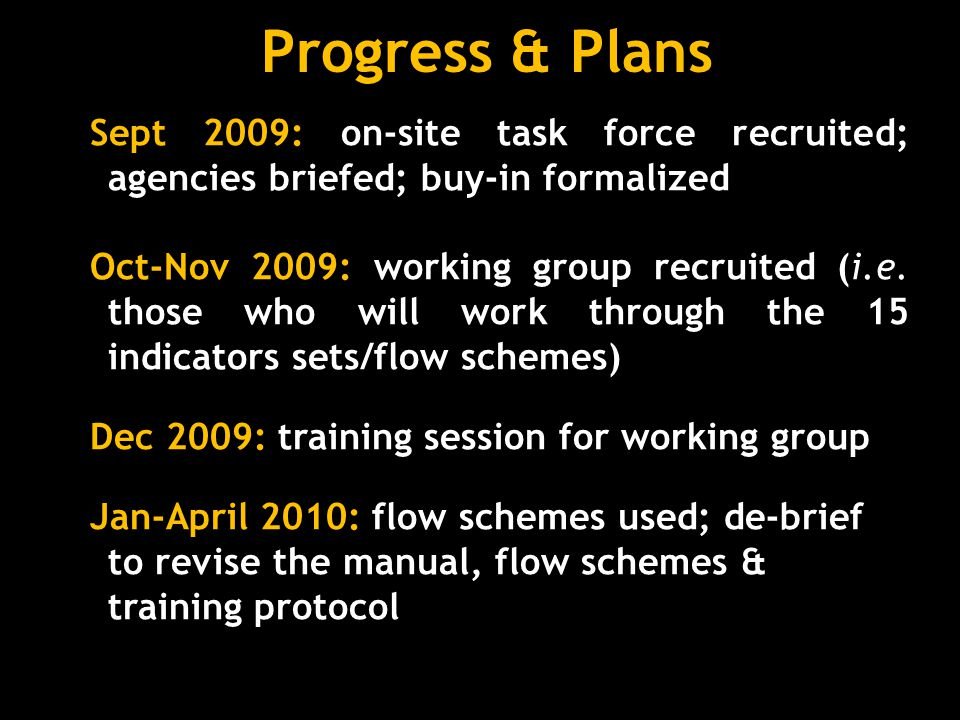 Progress & Plans Sept 2009: on-site task force recruited; agencies briefed; buy-in formalized.