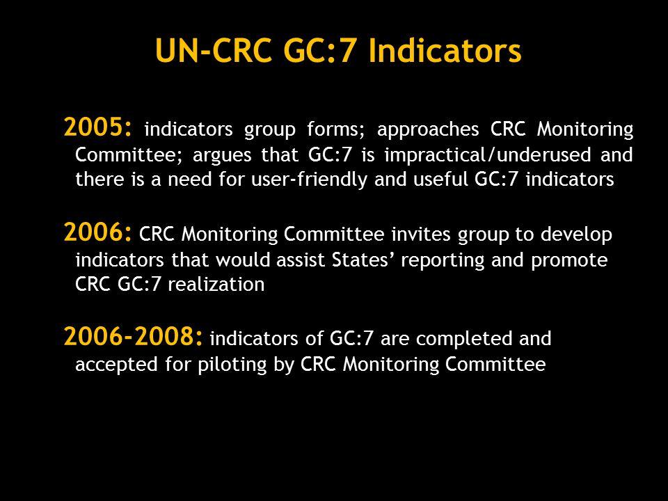 UN-CRC GC:7 Indicators