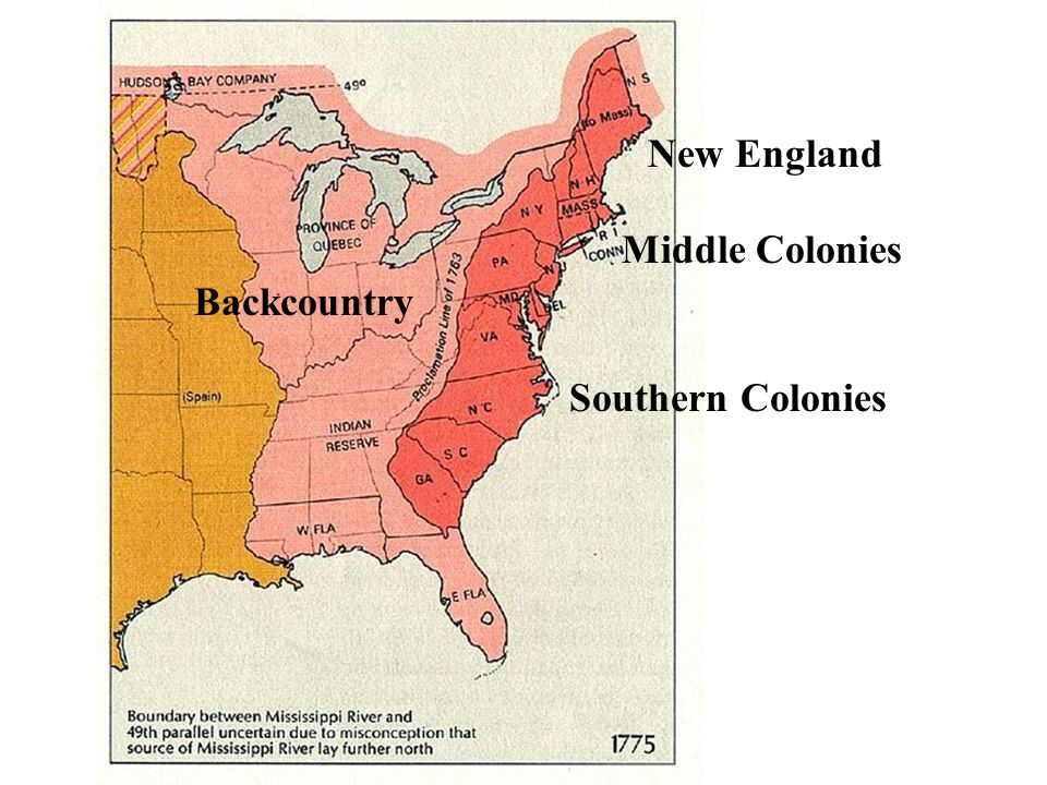 New England Middle Colonies Backcountry Southern Colonies