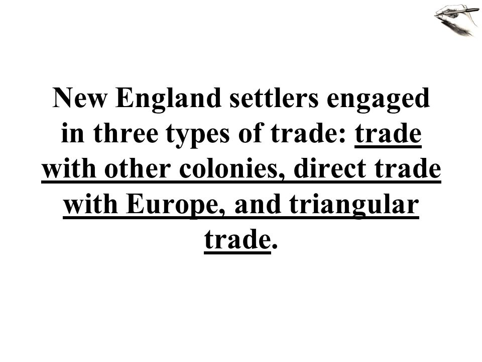 New England settlers engaged in three types of trade: trade with other colonies, direct trade with Europe, and triangular trade.