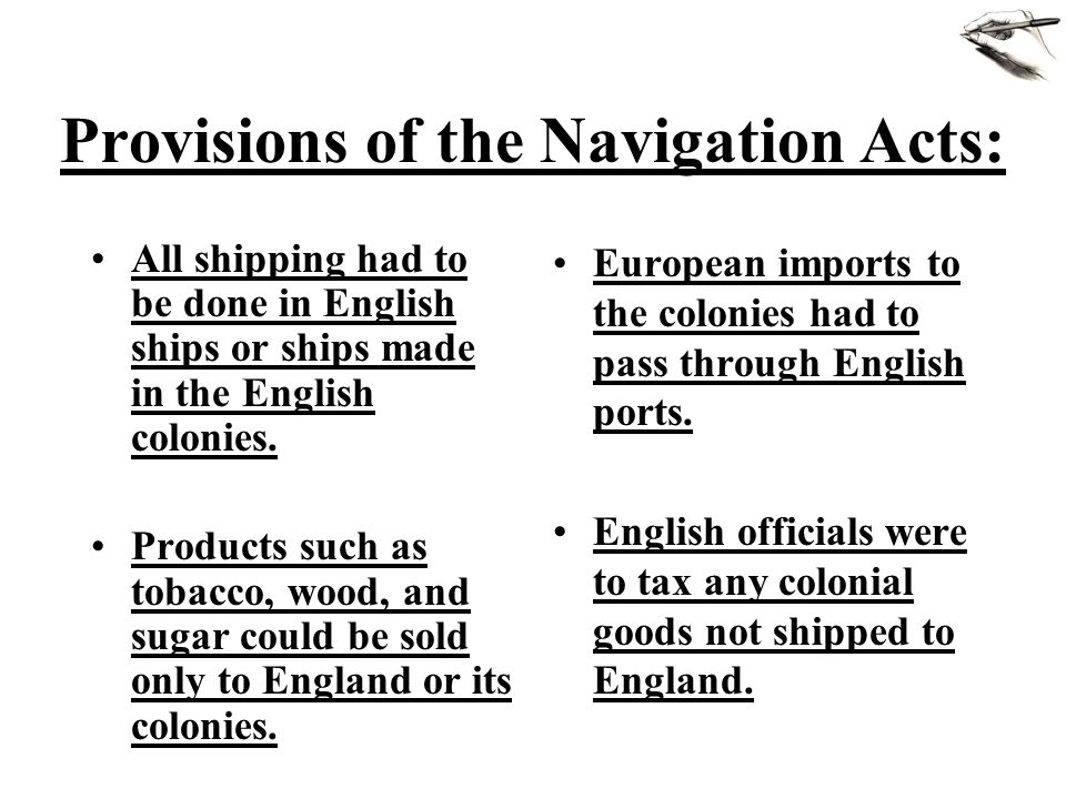 Provisions of the Navigation Acts: