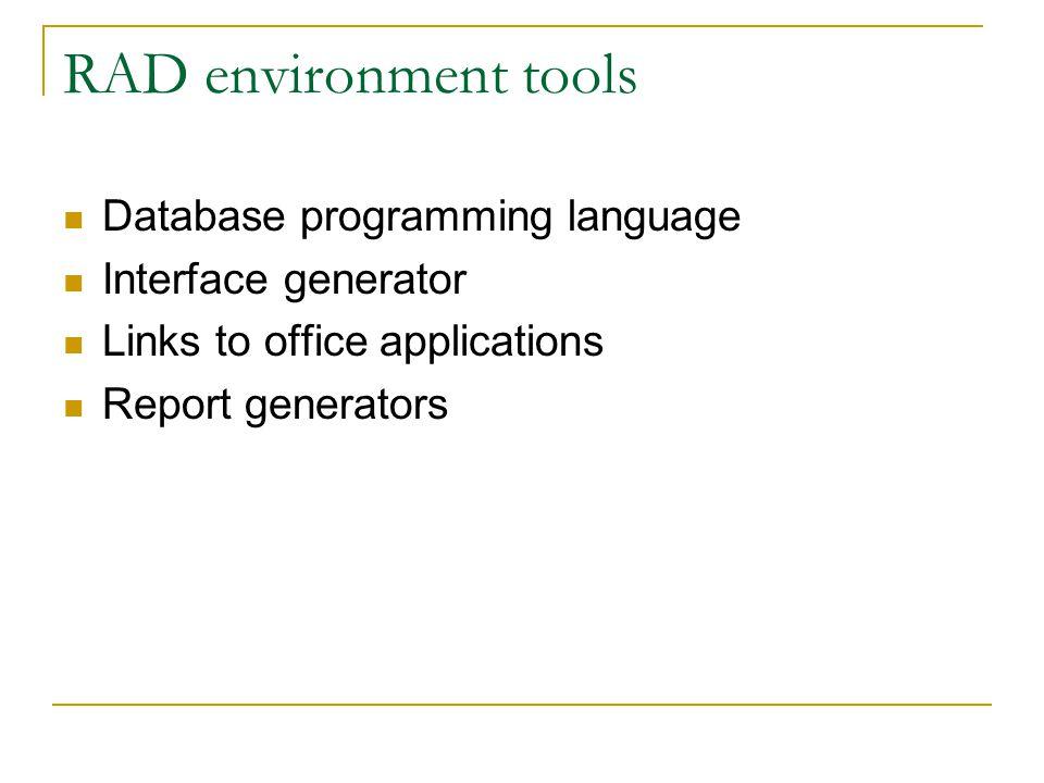 RAD environment tools Database programming language