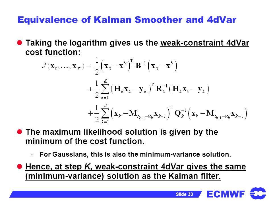 Equivalence of Kalman Smoother and 4dVar