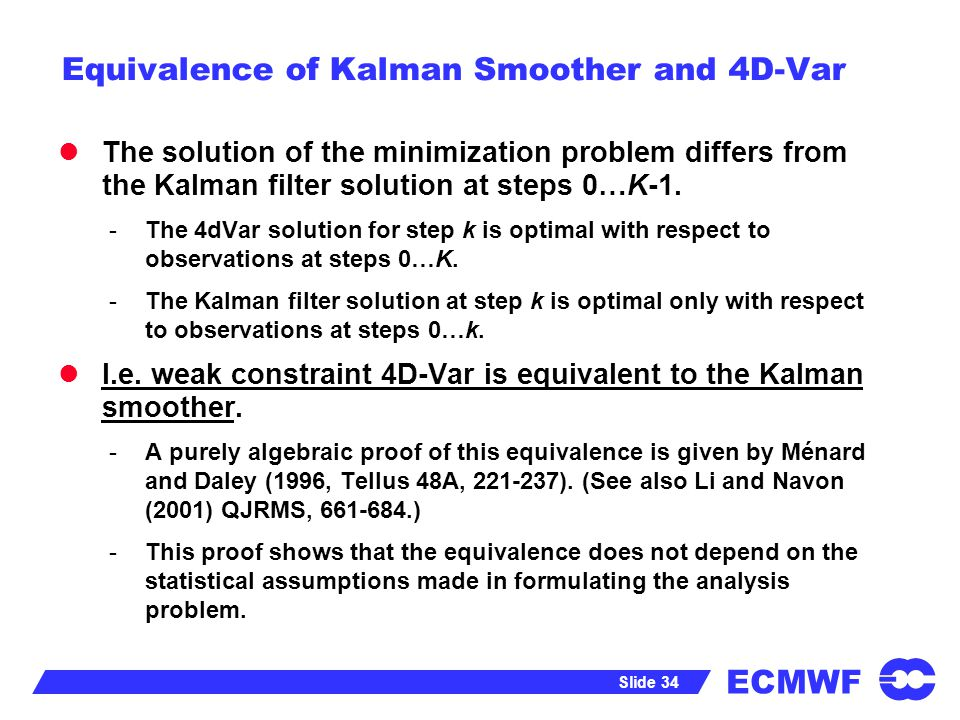 Equivalence of Kalman Smoother and 4D-Var