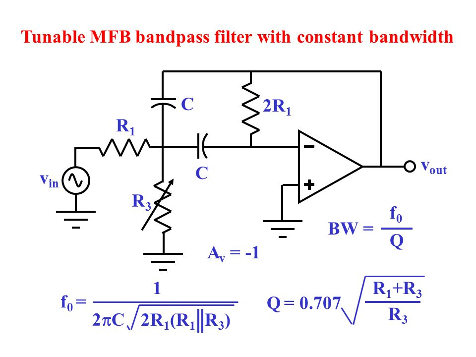 Tunable MFB bandpass filter with constant bandwidth