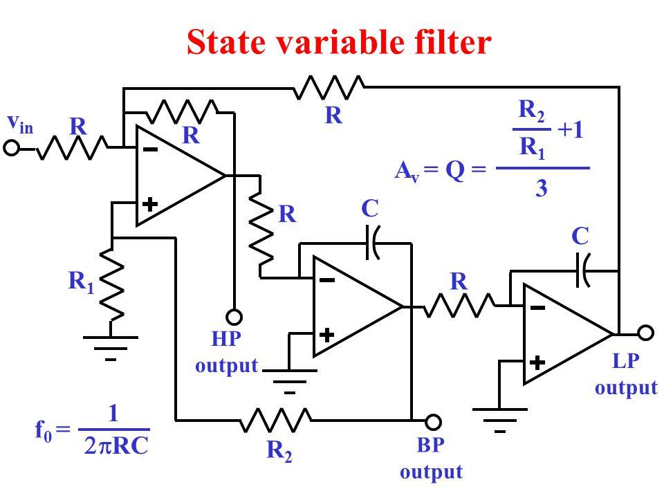 State variable filter R2 R vin R +1 R R1 Av = Q = 3 C R C R1 R 1 f0 =