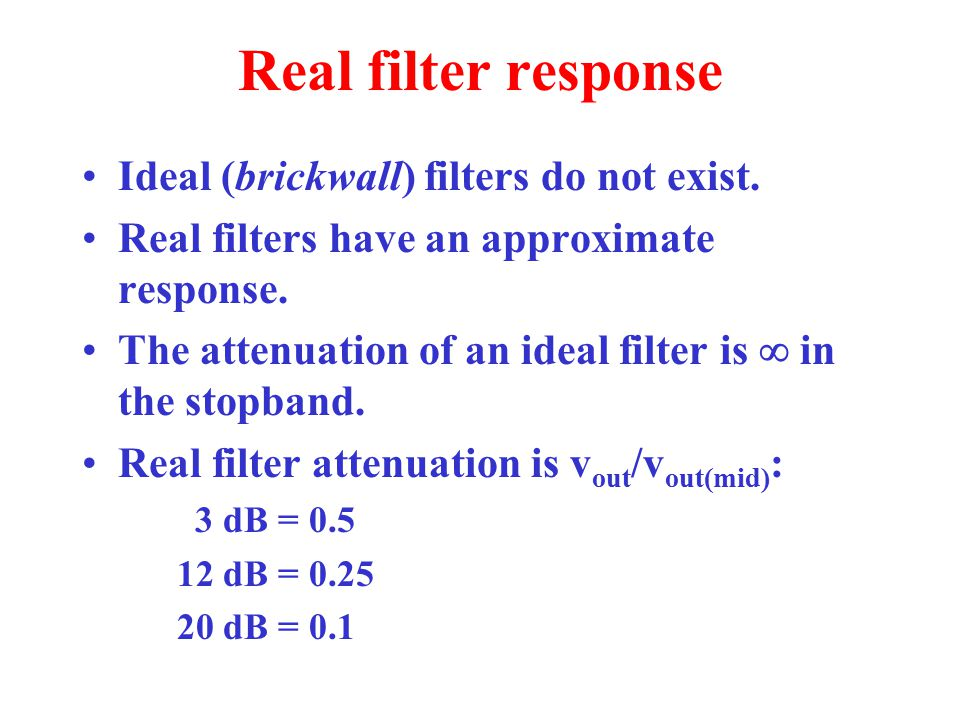 Real filter response Ideal (brickwall) filters do not exist.