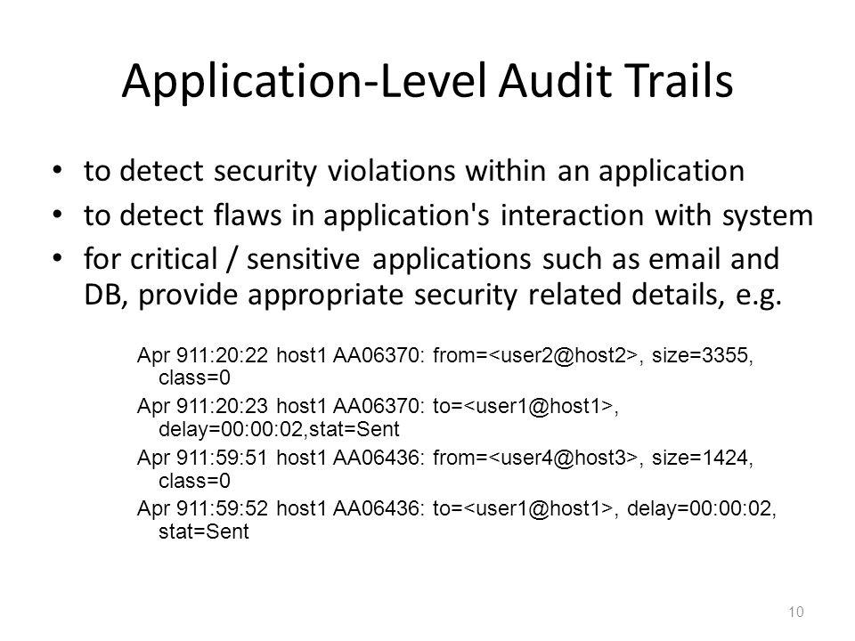 Application-Level Audit Trails